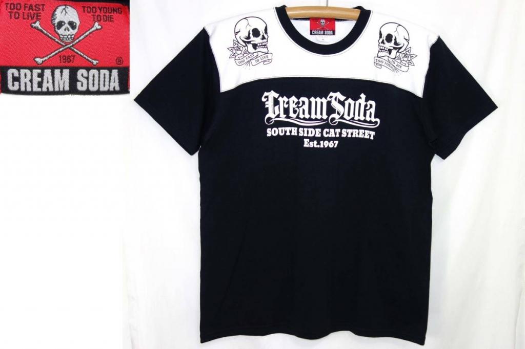 CREAMSODAクリームソーダTシャツ白黒XLスカル