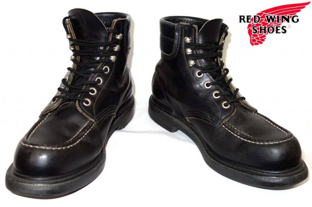 レッドウィングREDWING8133スーパーソールモックトゥワークブーツ71/2D黒羽タグ