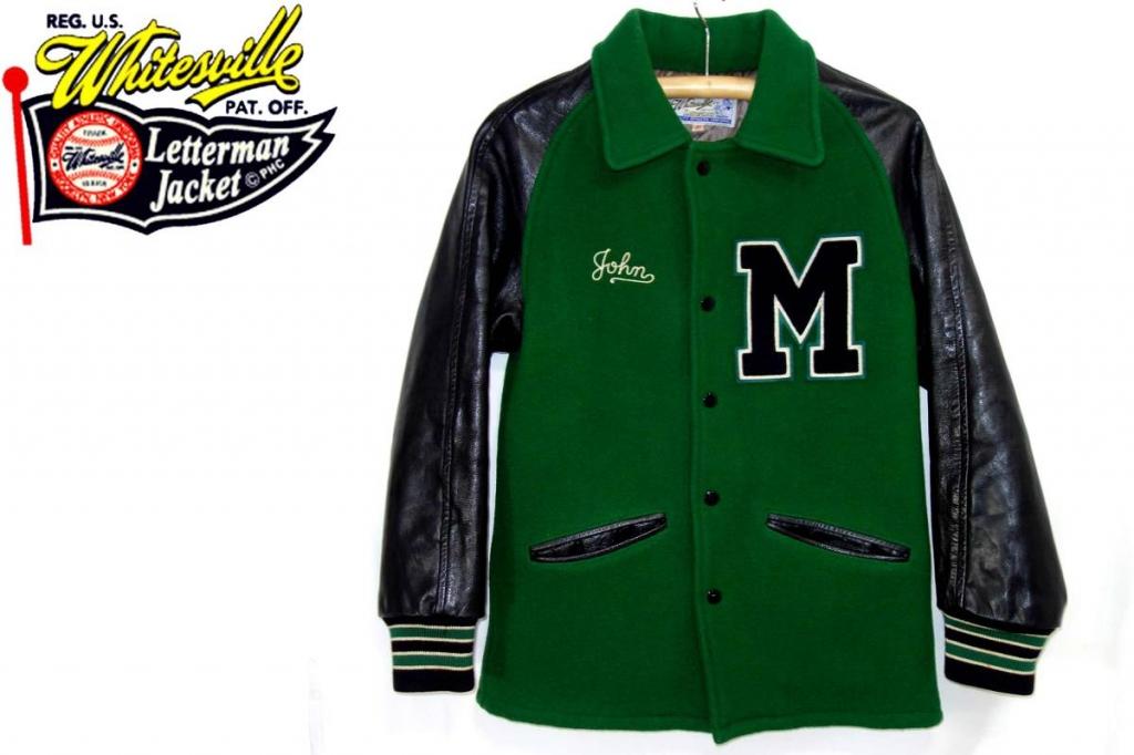 ホワイツビルWHITESVILLEスタジャン袖革ファラオジャケット36緑黒WV10938