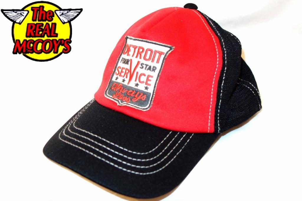 ザリアルマッコイズTheREALMcCOYSメッシュキャップ黒赤野球帽子