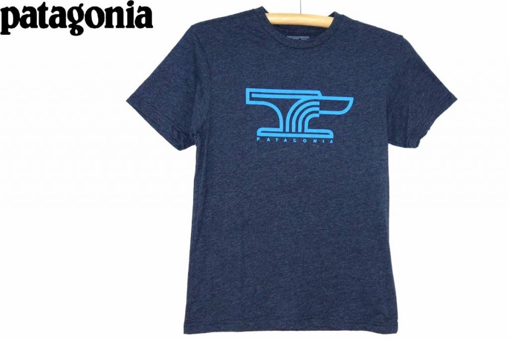 パタゴニアPATAGONIATシャツ紺グレーSスリムフィット