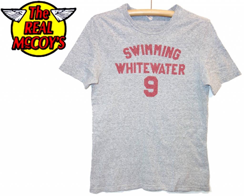 お買取り商品ザ・リアルマッコイズThe REAL McCOY'SジョーマッコイjoeTシャツBALL PARKグレーL SWIMMING WHITE WATER