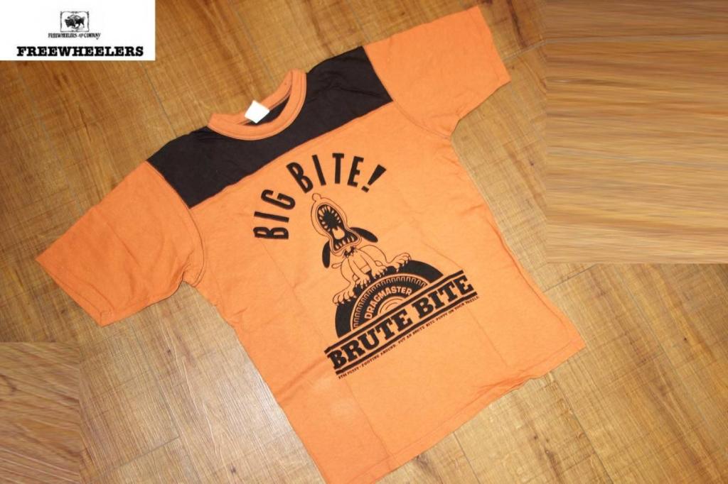 お買取商品フリーホイーラーズFREEWHEELERS美品POWER WEARTシャツ38オレンジ茶犬