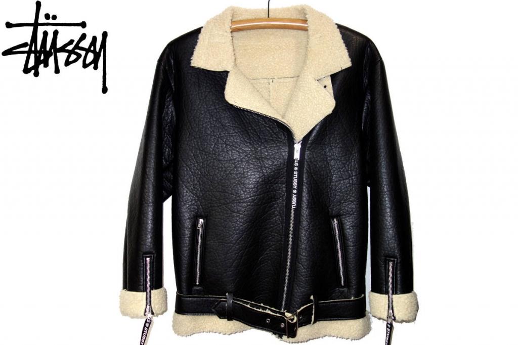 お買取り商品ステューシーSTUSSY美品合皮ムートンライダースジャケット黒XL