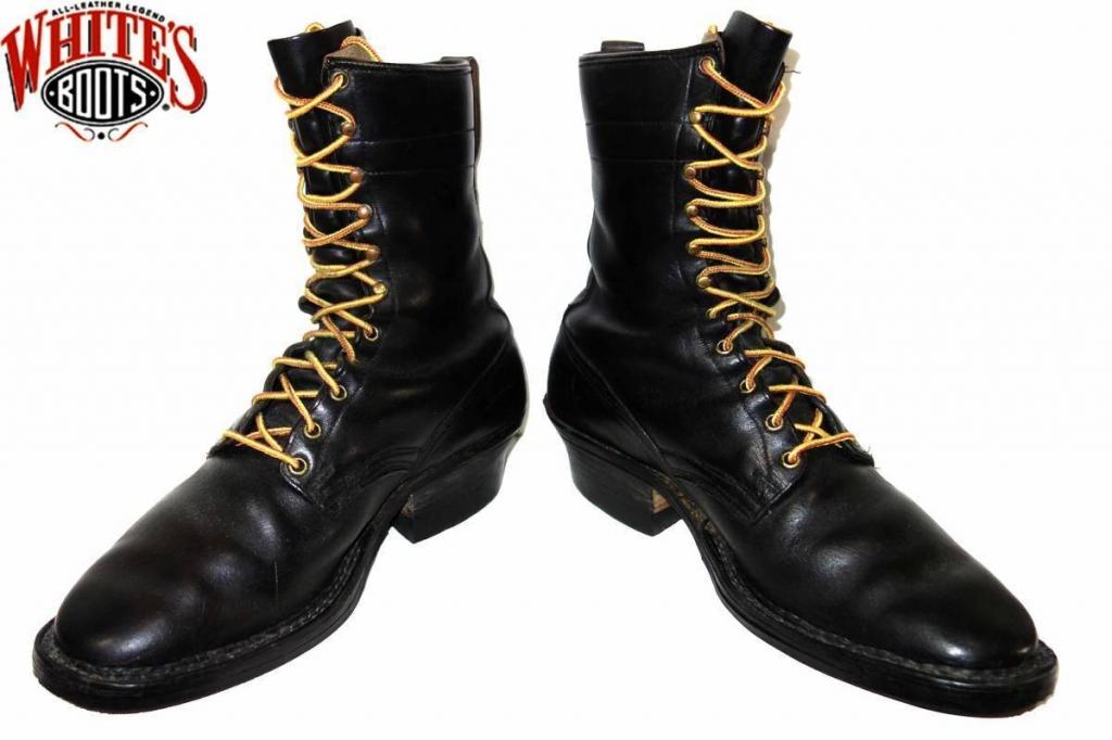 お買取り商品ホワイツブーツWHITE'S BOOTS60-70年代スモークジャンパーブーツ黒約28�刻印無し