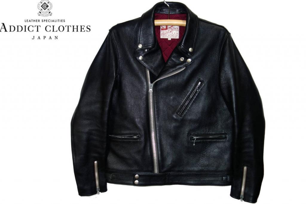 お買取商品アディクトクローズADDICT CLOTHES極美品シープスキンダブルライダースジャケットAD-03黒40