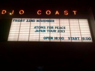 アトムス・フォー・ピース(Atoms For Peace)@Studio Coast 2013年11月22日