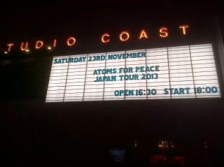 アトムス・フォー・ピース(Atoms For Peace)@Studio Coast 2013年11月23日