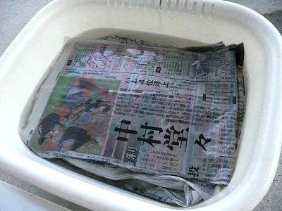 新聞紙を水にぬらしているところ