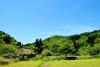 青空と菜の花と萱葺き屋根