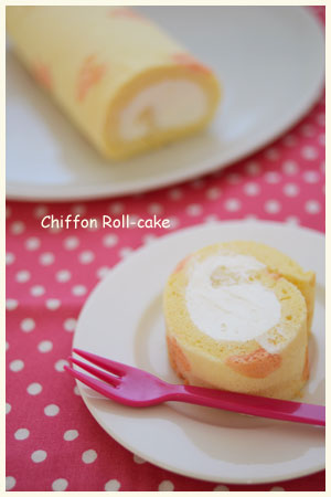ハート柄のロールケーキ