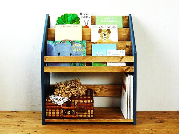 ハンドメイド*木製ブックシェルフ絵本棚アンティークブルー×白W64