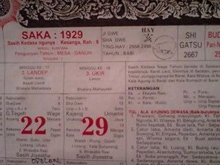 バリ島カレンダー サカ暦