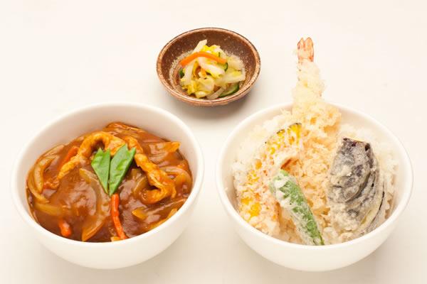 和風カレー丼とミニ天丼