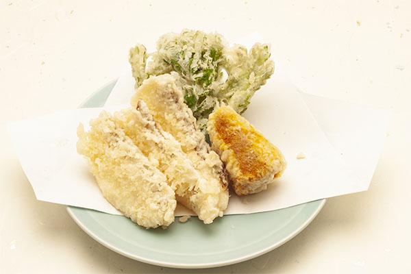 季節の天ぷら 真鯛と煮かぼちゃ