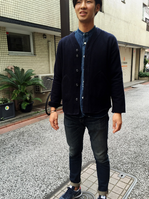 BARNS_denim shirt & wool cardigan
