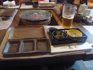萬久 前菜とビール