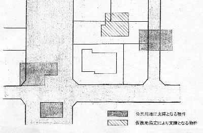 斜線の家屋は移転戸数にカウントされていなかった