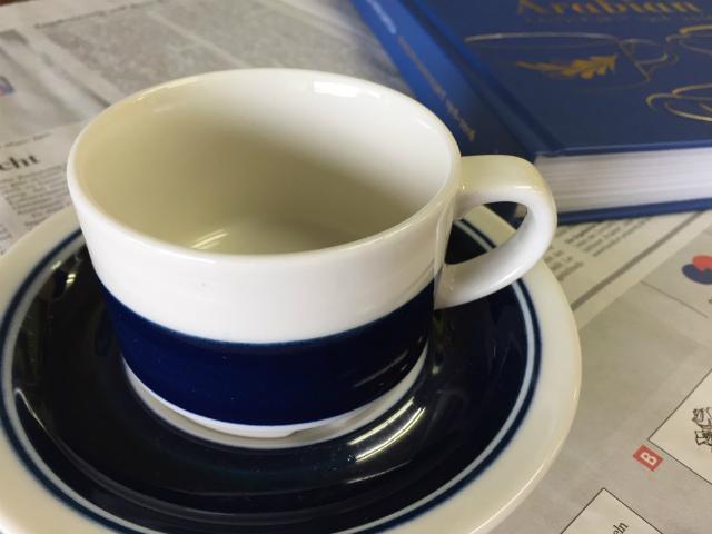 アラビア コーヒーカップ ソーサー ハンドペイント ライン