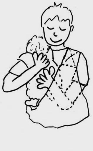 赤ちゃんの腰を帯の中から支えます