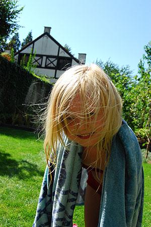 ロビン、お日様と芝生