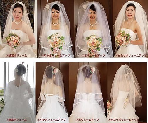 ヴェールのボリュームによって、エレガントにも華やかにもなりますので、理想の花嫁様像をイメージしてお選び下さいね