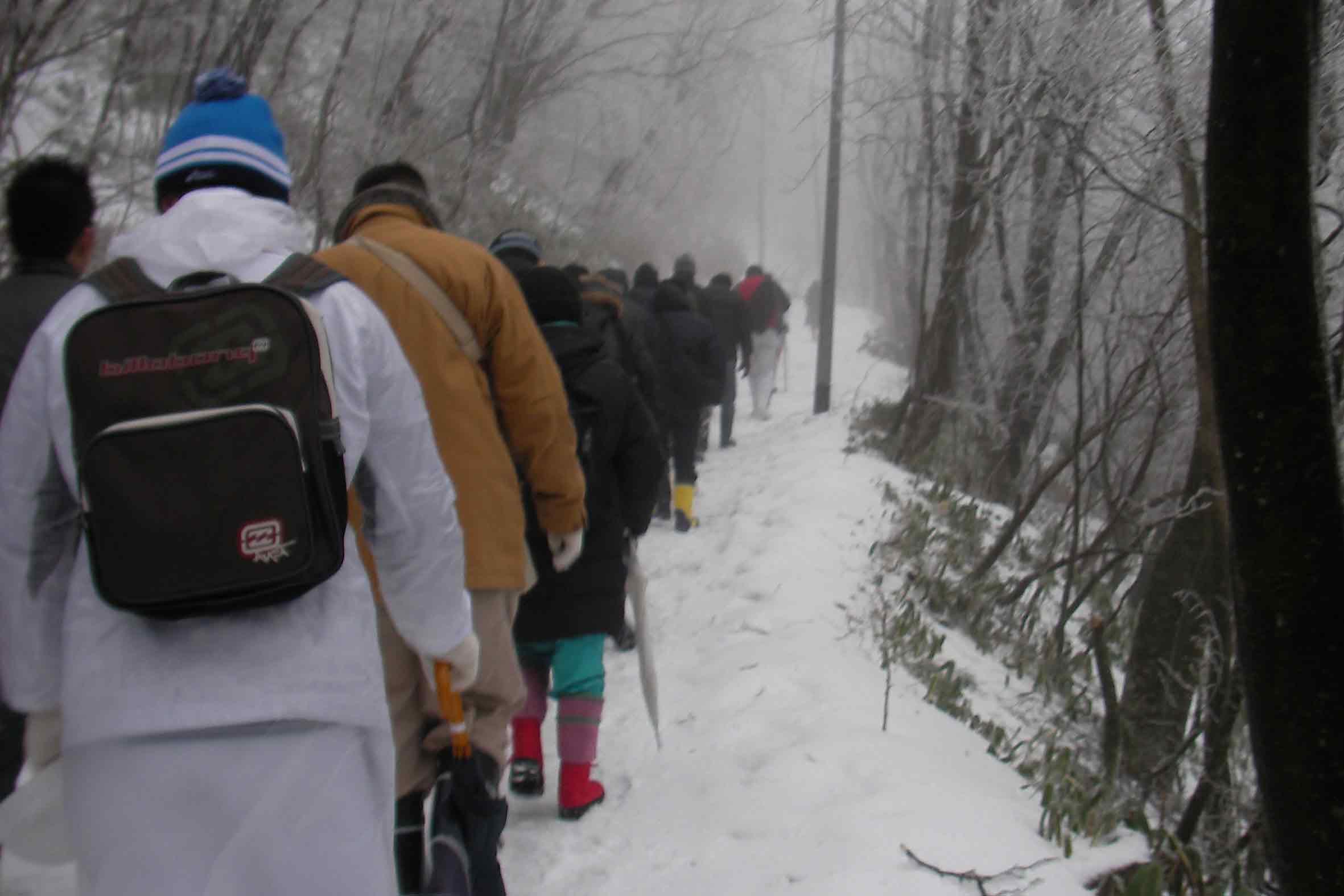石鎚山 成就社への雪道