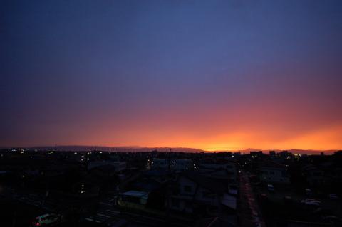夕焼け広角