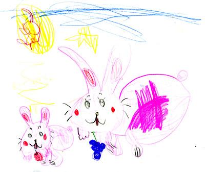 うさぎの親子_絵本と本と子供の絵ブログ