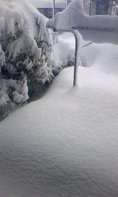 雪に埋もれた物干し竿