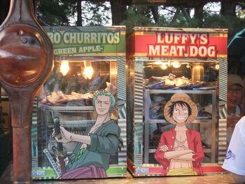 ゾロのチュリトスとルフィの肉ドッグの屋台