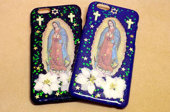 マリアアイホンケース アイフォン iPhone スマホ スマートフォン メキシコ マリア PAD 手作り キラキラ 星