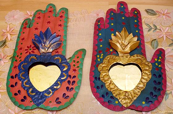 メキシコ インテリア雑貨 ブリキ 壁掛け 壁飾り ディスプレー ニチョ 手 ミラー かがみ