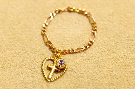 メキシコ リング 指輪 チェーンリング ピンキーリング ジルコニア 華奢 小さい チャーム クロス 十字架 モチーフ ギフト プレゼント