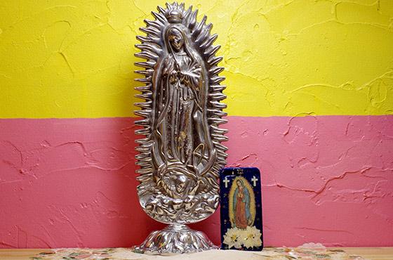 メキシカンピューター ピューター アルミ インテリア マリア像 グアダルーペ像 メキシコ ディスプレー 聖母像 チカーノ ローライダー