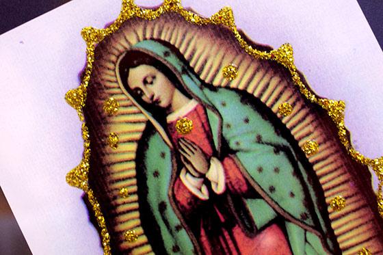 褐色の聖母 マリア グアダルーペ 壁掛け 壁飾り ポスター フレーム付き メキシカンマリア メキシコ メキシコ雑貨 エスニック雑貨 御守り お守り インテリア ディスプレー