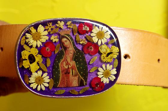 メキシカンピューター バックル ベルトのバックル 生花 マリア コラソン お花 ファッション 小物 ベルト