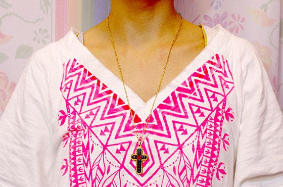 ビンテージ ネックレス お守り アクセサリー メキシカンジュエリー チャーム クロス カラバカ チェーンネックレス