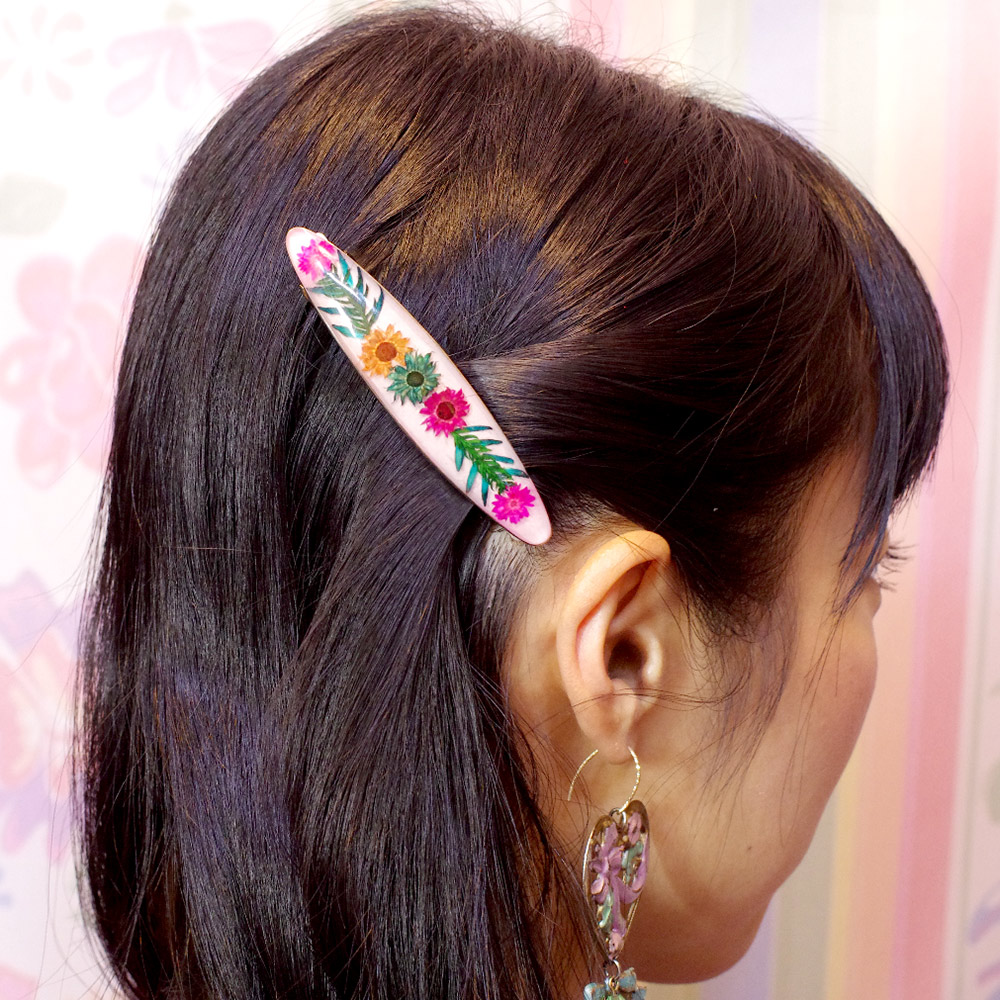 メキシコ ヘアアクセ バレッタ ヘアピン ヘアクリップ 髪飾り お花 生花 アクセサリー ギフト プレゼント ハンドメイド 手作り