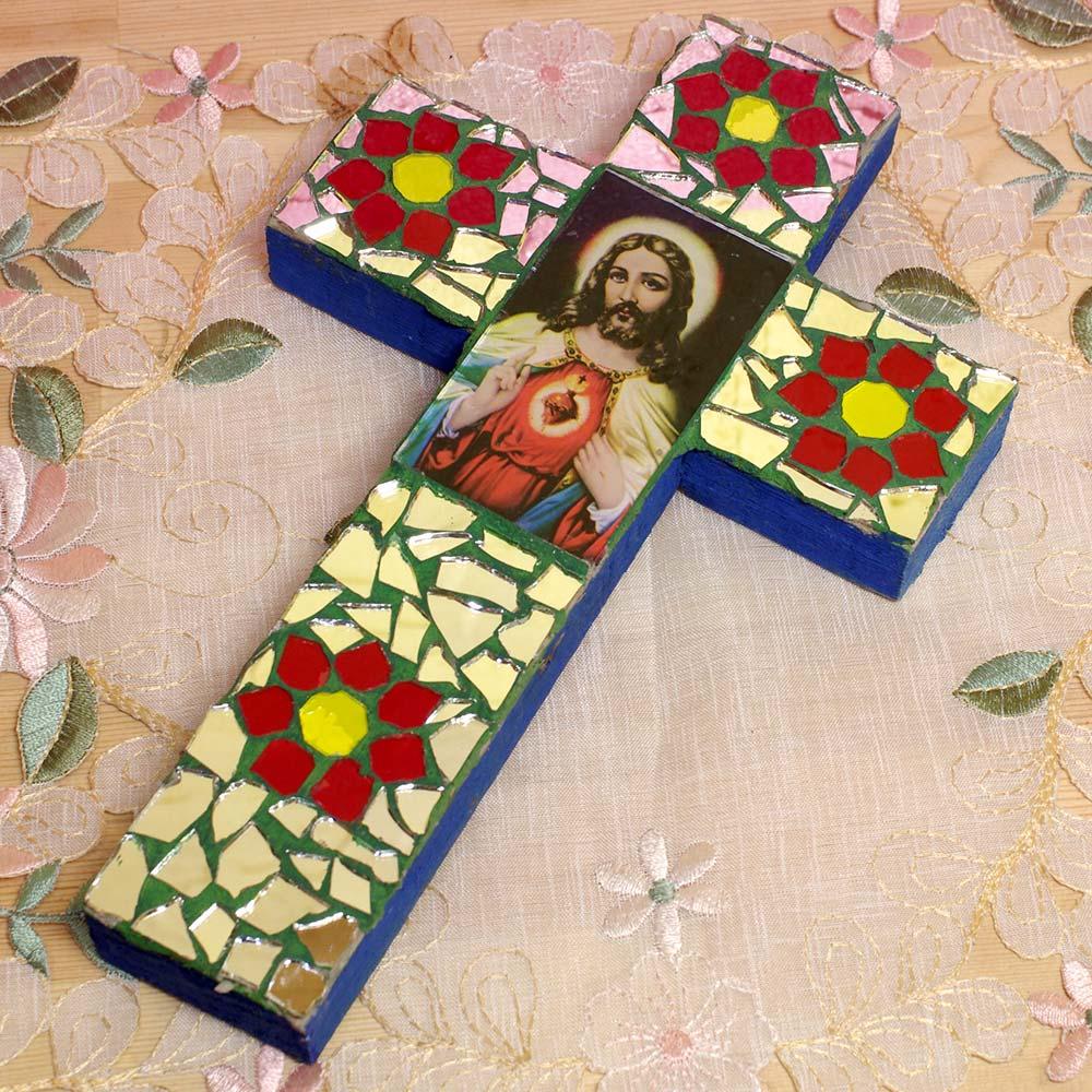 メキシコ インテリア 十字架 クロス ガラス ステンドグラス 壁掛け 壁飾り 手作り 飾り ボヘミアン エスニック かわいい 雑貨 メキシコ雑貨 メキシコ雑貨pad