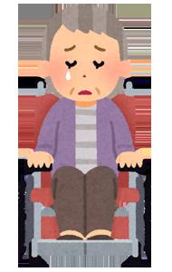 哀しむ車椅子女性