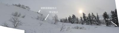 三段山雪崩全景