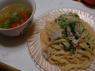 豚肉と菊菜のパスタ