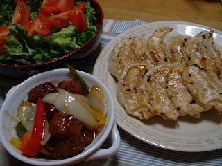 餃子・酢豚・サラダ