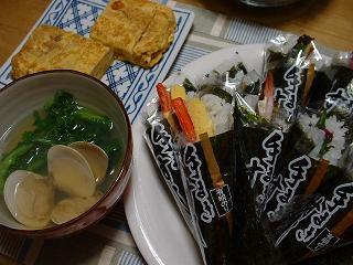 手巻き寿司とハマグリのお吸い物