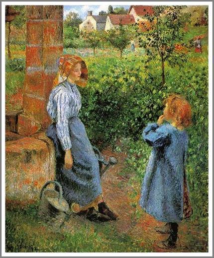井戸端の女と子供