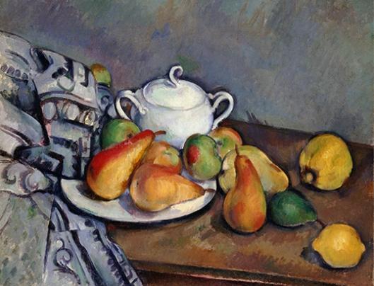 砂糖壷、梨とテーブルクロス