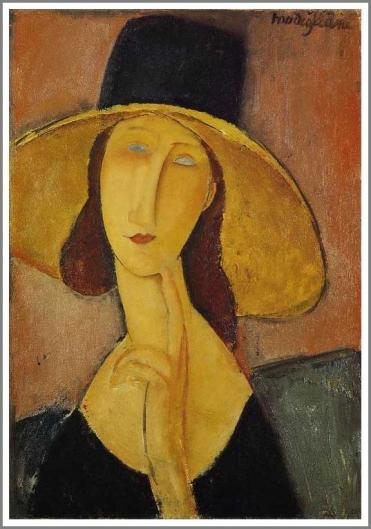 大きな帽子のジャンヌ・エビュテルヌ