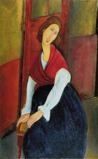 扉を背にしたジャンヌ・エビュテルヌの肖像