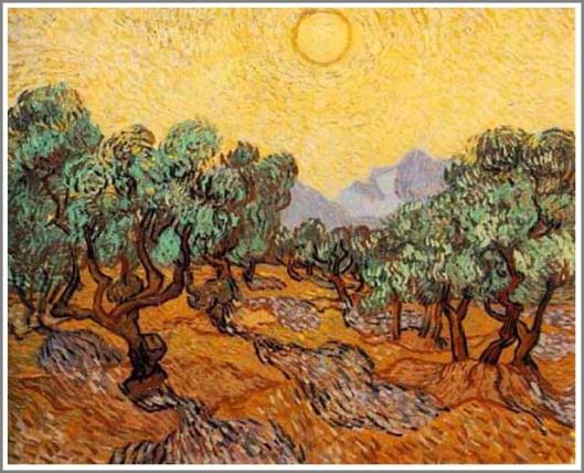 オリーヴ園(黄色の空と太陽